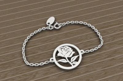 Bracelet sur chaîne Argent 925 - Rose