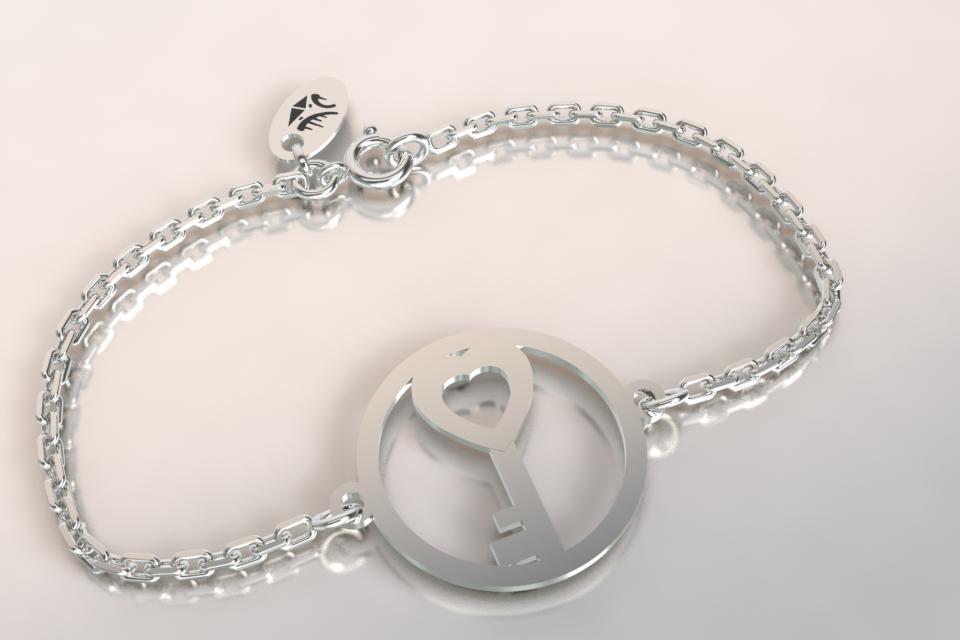 Bracelet clef argent