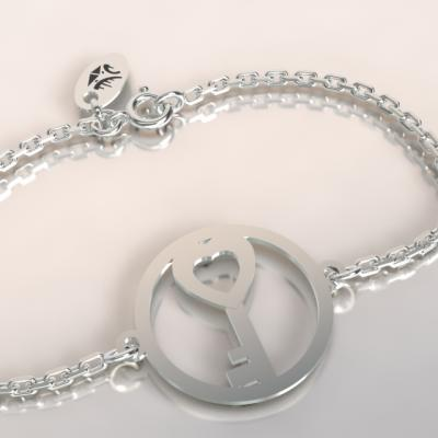 bracelet clef argent 925/1000 sur chaine
