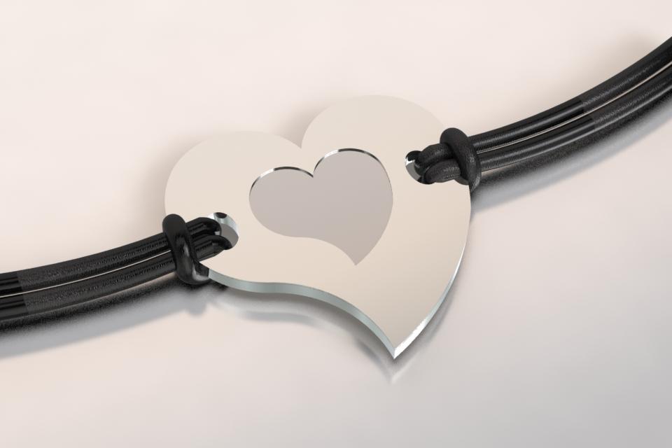 Bracelet coeur argent et acier 1