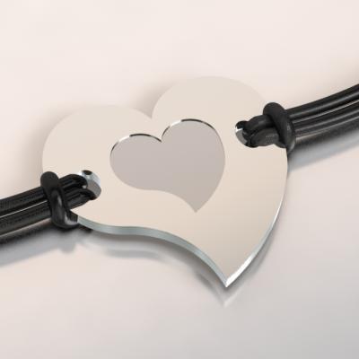 bracelet coeur argent et acier