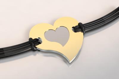 barcelet coeur or et acier