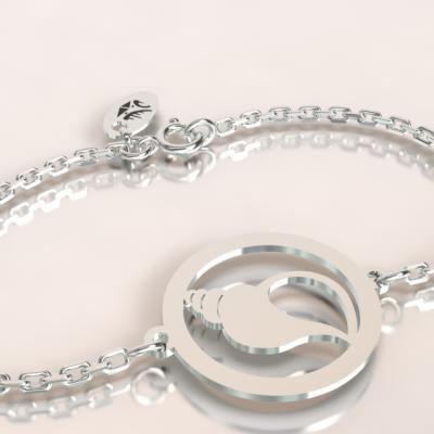 bracelet coquillage  argent 925/1000 sur chaîne