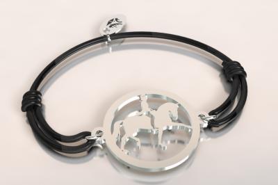 Bracelet cordon cavalier au dressage argent 925/1000