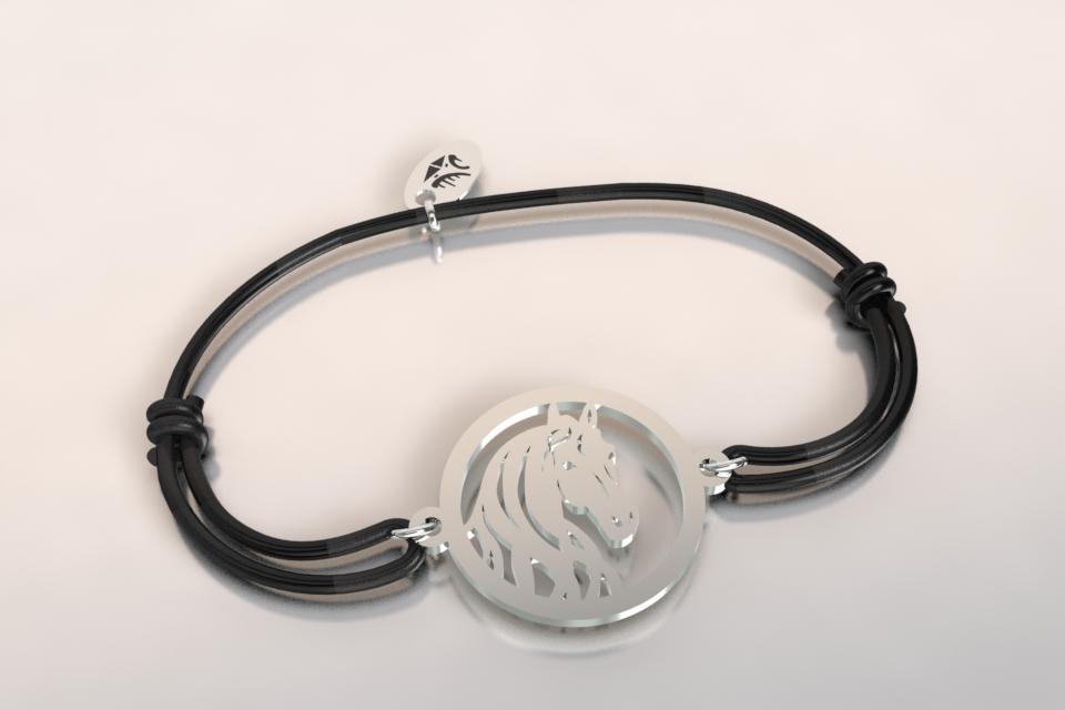 Bracelet cordon tete de cheval