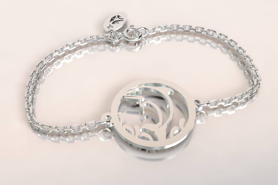 Bracelet dauphin chaine argent