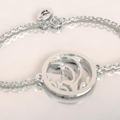 Bracelet   dauphin jeton découpé sur chaîne argent 925/1000