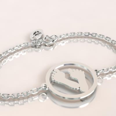 bracelet empreinte argent 925/1000 sur chaîne