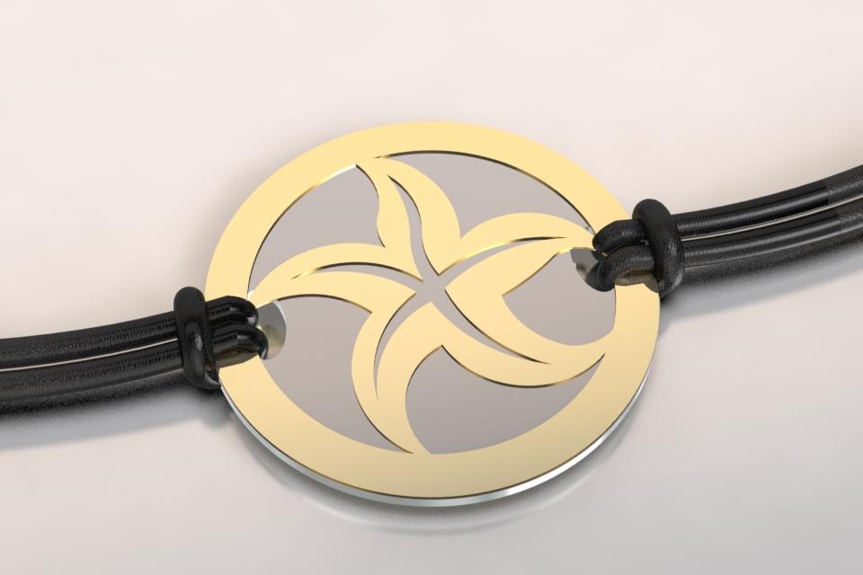 Bracelet etoile de mer or et acier