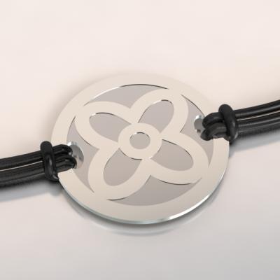 bracelet fleur argent et acier