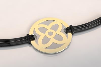 barcelet fleur or et acier