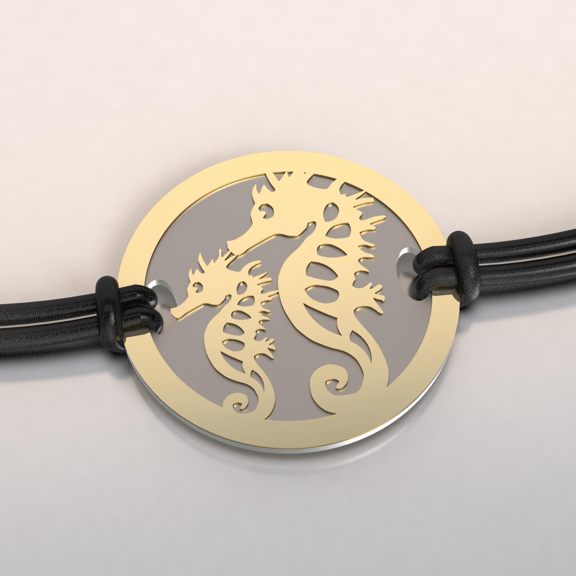 Bracelet jeton 2 hippocampe or