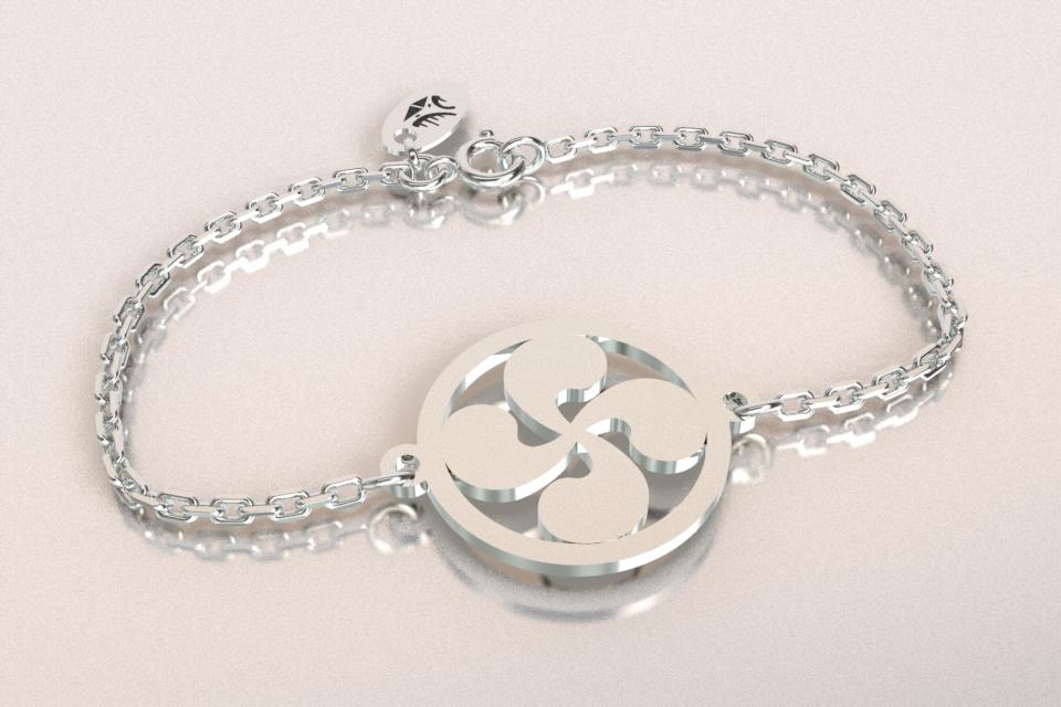 Bracelet jeton argent croix basque 1