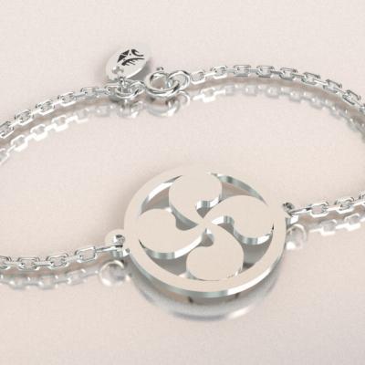 Bracelet   croix basque  jeton découpés sur chaîne argent 925/1000