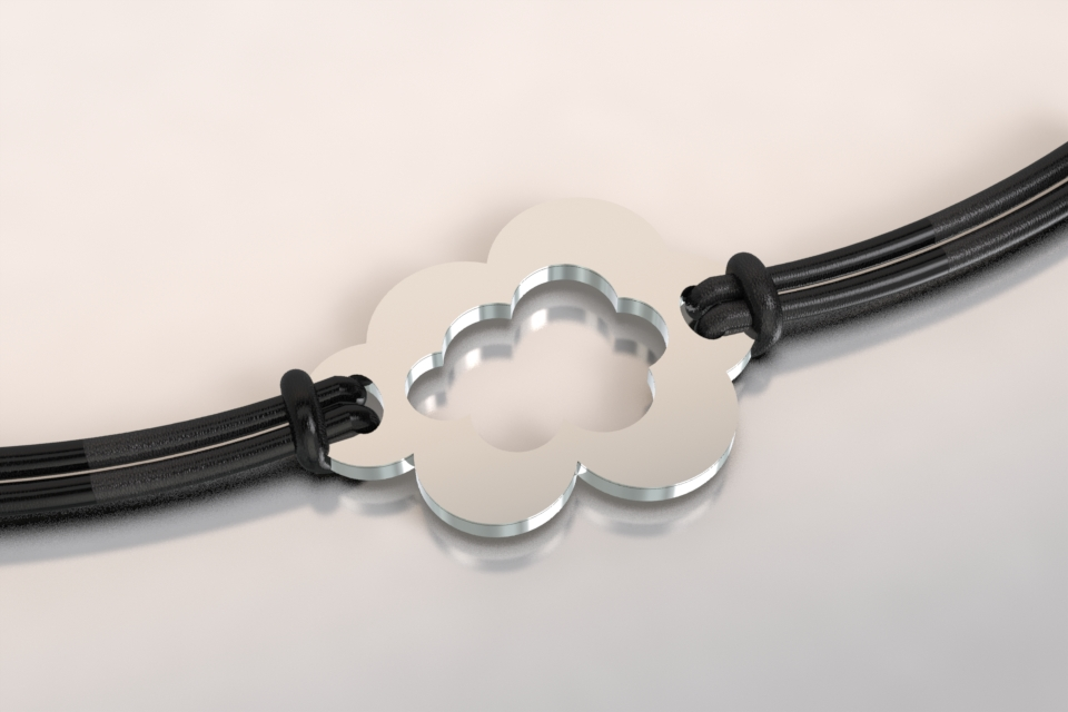 Bracelet nuage argent et acier