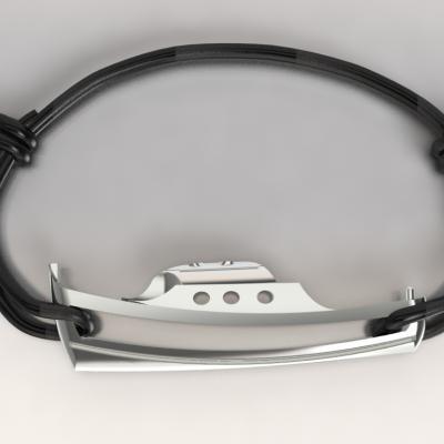 bracelet argent 925/1000  pinasse 1.9gr  sur cordon