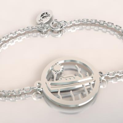 Bracelet   pinasse  jeton découpé sur chaîne argent 925/1000