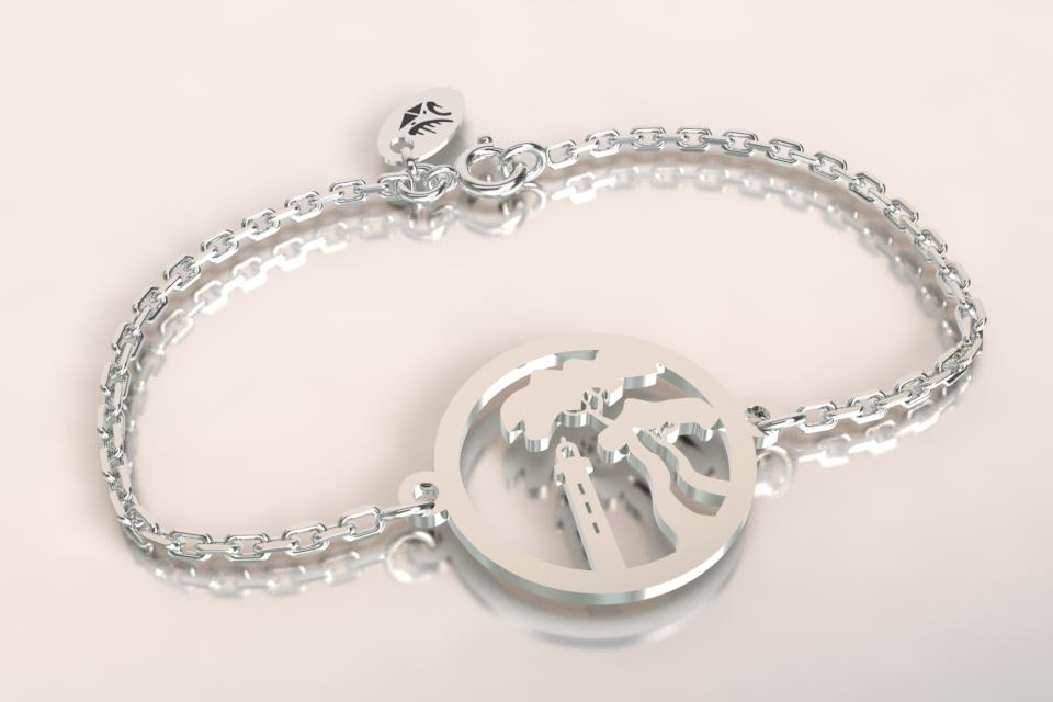 Bracelet pinparasol chaine argent
