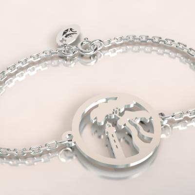 bracelet pin parasol et phare du ferret ,argent 925/1000 sur chaine