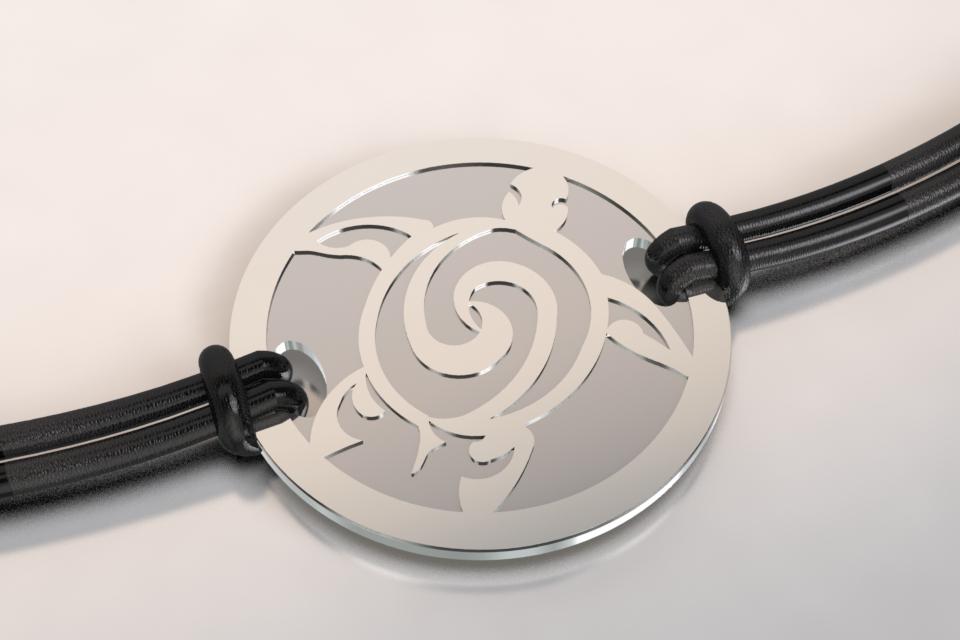 Bracelet tortue argent et acier 1