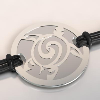 bracelet tortue argent et acier