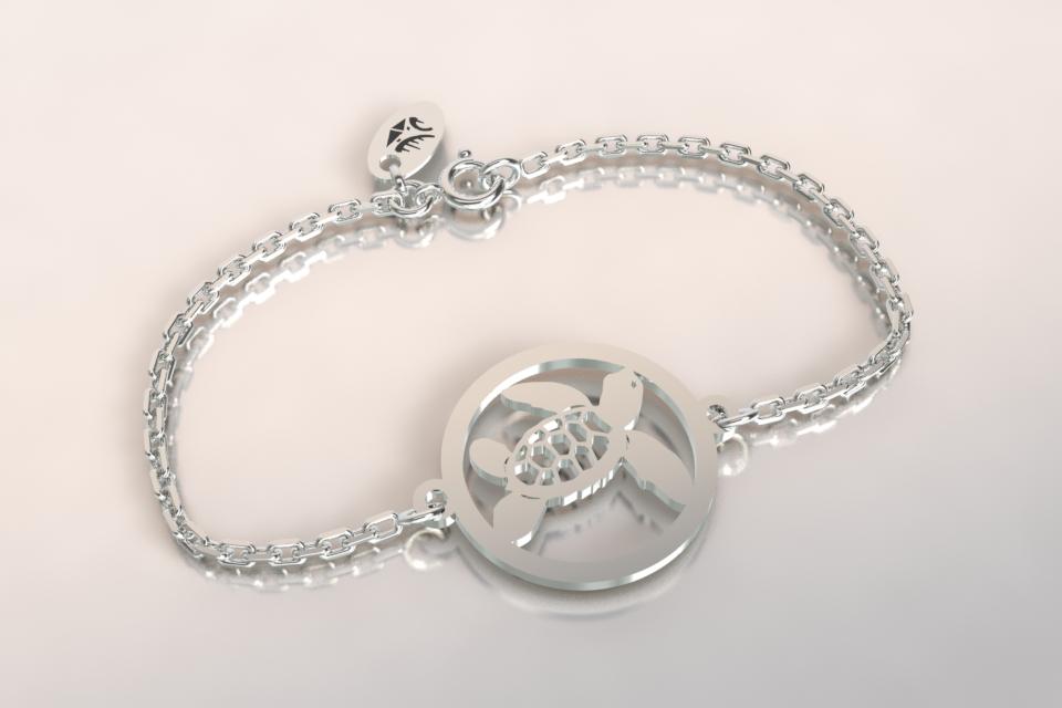 Bracelet tortue chaine argent