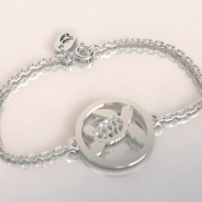 Bracelet tortue  jeton découpé sur chaîne argent 925/1000