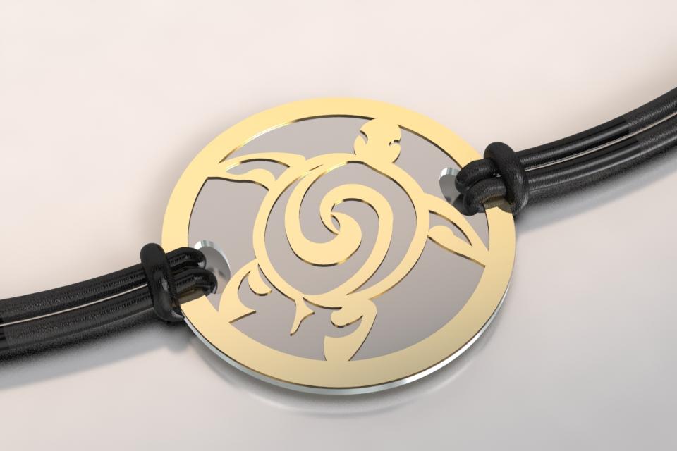 Bracelet tortue or et acier
