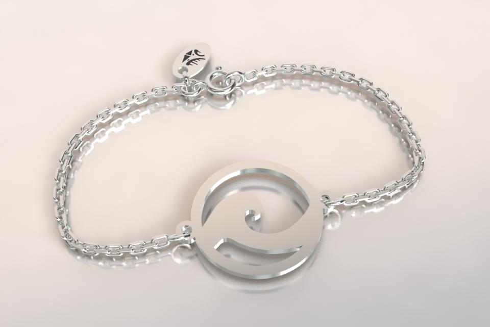 Bracelet vague chaine argent