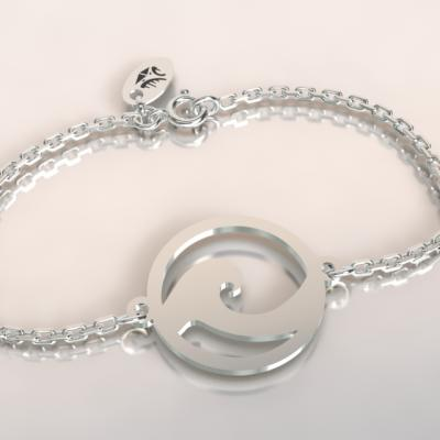 bracelet vague sur chaine argent 925/1000