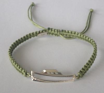 bracelet pinasse argent 925/1000,  2 gr, sur cordon marin