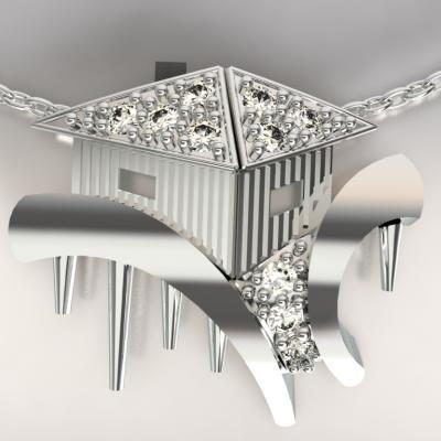 cabane tchanquées argent 925/1000  4gr et diamants 0.13ct g/si