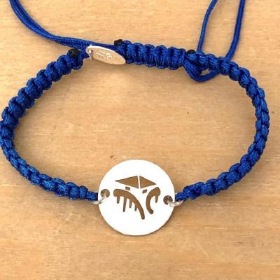bracelet jeton Cabane Tchanquée argent 925/1000 cordon marin