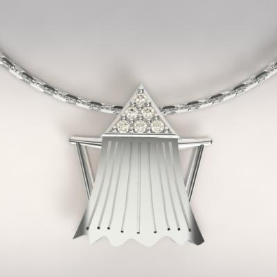 pendentifs cabine de plage argent 925/1000 4.7gr avec diamants 0.08ct