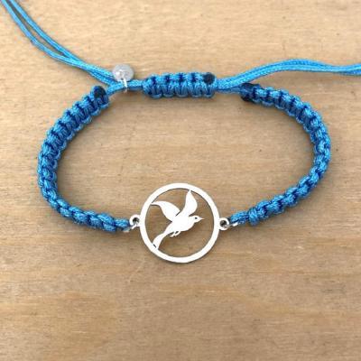 Bracelet jeton Mouette Argent 925/1000 cordon marin