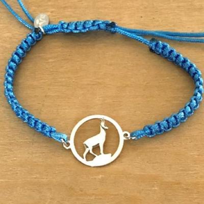 Bracelet jeton Chamois Argent 925/1000 cordon marin