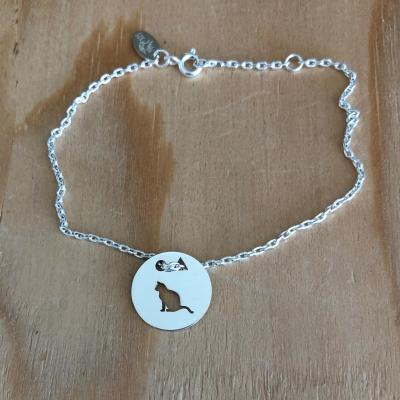 Token's - Bracelet chaine - Chat assis