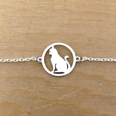 Bracelet sur chaîne Argent 925/1000 - Chat Assis