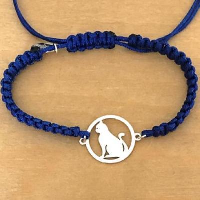 Bracelet jeton Chat assis Argent 925/1000 cordon marin