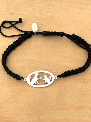 Bracelet jeton Chien Chat Argent 925/1000 cordon marin