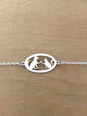 Bracelet sur chaîne Argent 925/1000 - Chien Chat