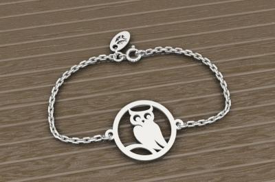 Bracelet sur chaîne Argent 925/1000 - Chouette
