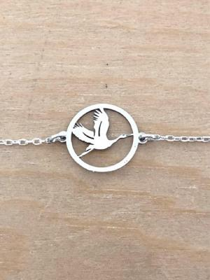 Bracelet sur chaîne Argent 925/1000 - Cigogne en vol