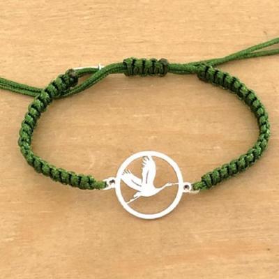 Bracelet jeton Cigogne en vol Argent 925/1000 cordon marin
