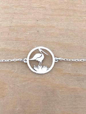 Bracelet sur chaîne Argent 925/1000 - Cigogne et nid