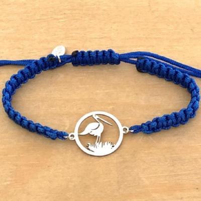 Bracelet jeton Cigogne et nid Argent 925/1000 cordon marin