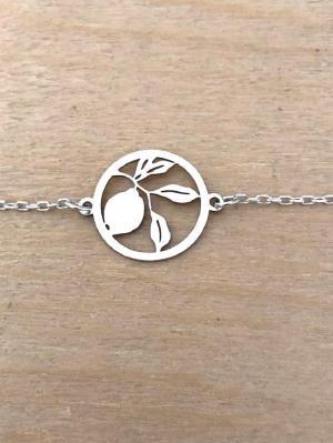 Bracelet sur chaîne Argent 925 - Citron feuille