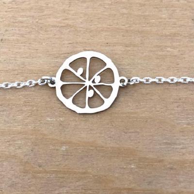 Bracelet sur chaîne Argent 925 - Citron tranche
