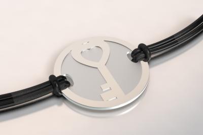 bracelet clef argent et acier
