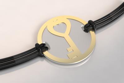 bracelet clef or et acier